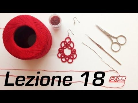 ▶ Chiacchierino Ad Ago - 18˚ Lezione Orecchino Con Perline - Tutorial Come Fare Tatting - YouTube