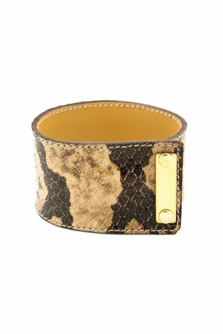 Kaplama Plakalı Kahve Crocodile Derisi Bileklik. Kombin. Tasarım. Armparty. Leather bracelet.