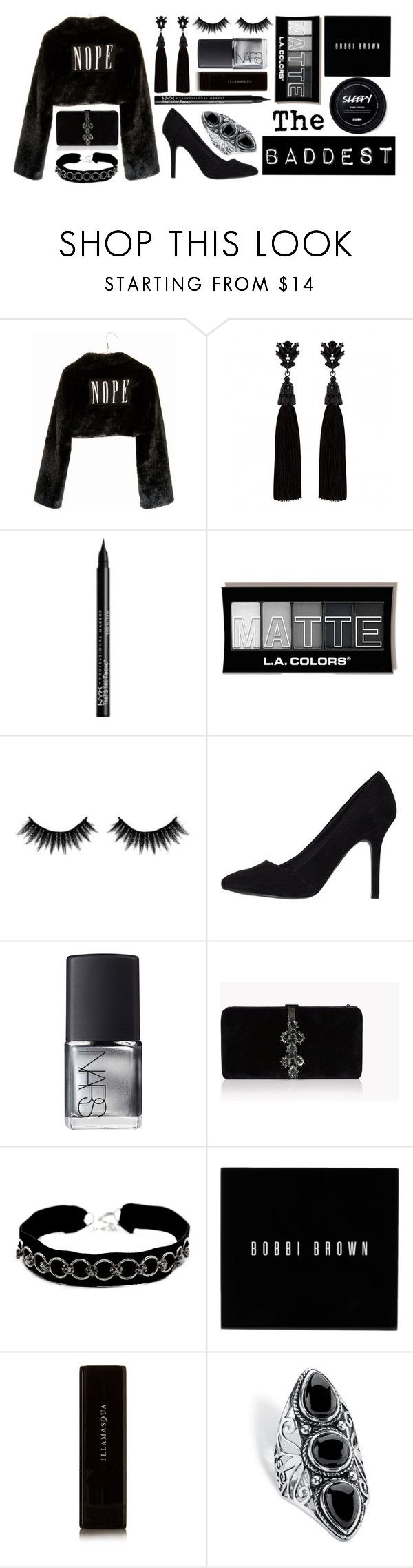 """The Baddest"" by infinitysunset ❤ liked on Polyvore featuring Wet Seal, Ziggy, NYX, Morphe, NARS Cosmetics, Dsquared2, VSA, Bobbi Brown Cosmetics, Illamasqua and Palm Beach Jewelry"