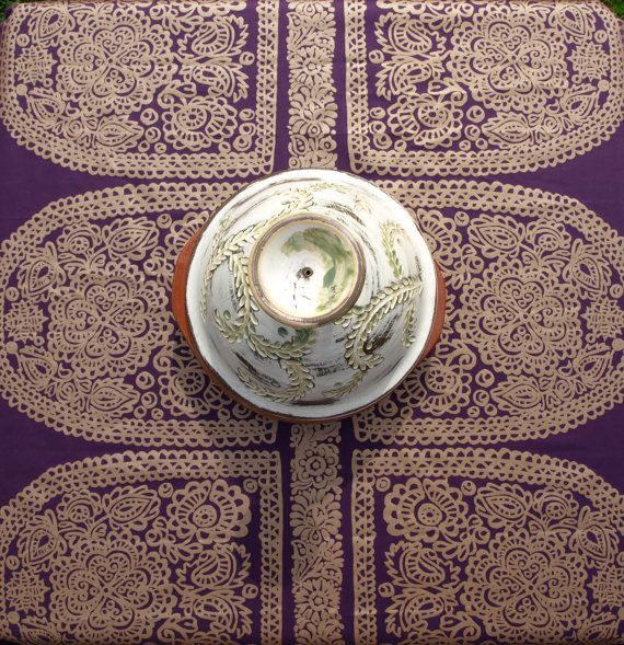 Marimekko Tablecloth eggplant purple gold decor by Dreamzzzzz, $28.00