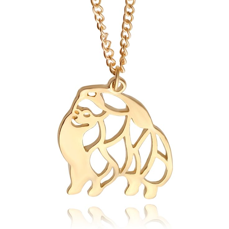 Cute Puppy Dog Memorial Gift Pomeranian dog  Animal Hollow Pendants Necklaces For Women Fashion Jewelry pet lovers gift