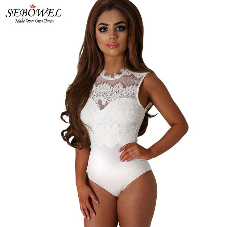 Sexy Transparent White Lace Bodysuit Top Sleeveless Hollow Out Backless Romper Women Bodycon Jumpsuit Sexy Mesh Bodysuit Women
