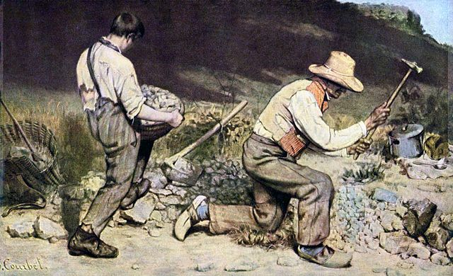 """Gustave Courbet, """"The Stone Breakers"""" (1849). """"The Stone Breakers,"""" celebrated for its detailed social realism where each fray of clothing of the workers is visible, was unfortunately lost in Dresden during the war — along with about 154 other pieces that were moved to a Dresden castle lost to an Allied bomb."""