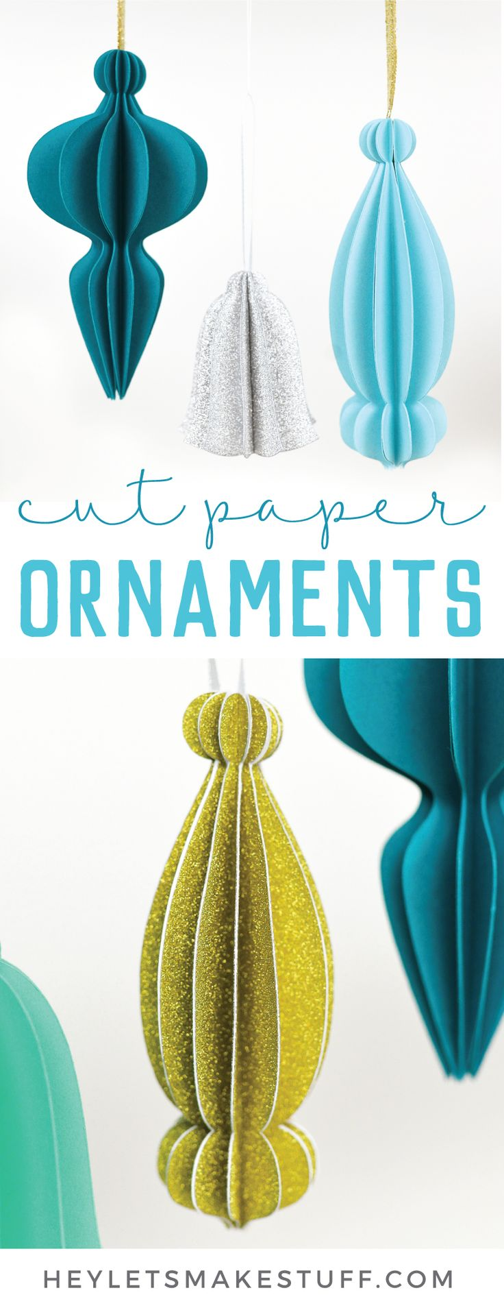 These cut paper ornaments are made with an array of cute papers from JOANN and cut on the Cricut Maker or other electronic cutting machine! Get the free SVG cut files and learn how to assemble these beautiful 3D paper ornaments. #handmadewithjoann #ad