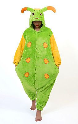 Caterpillar Einteiler Kostüm Kapuzenpulli Pyjama Schlafanzug Weihnachten