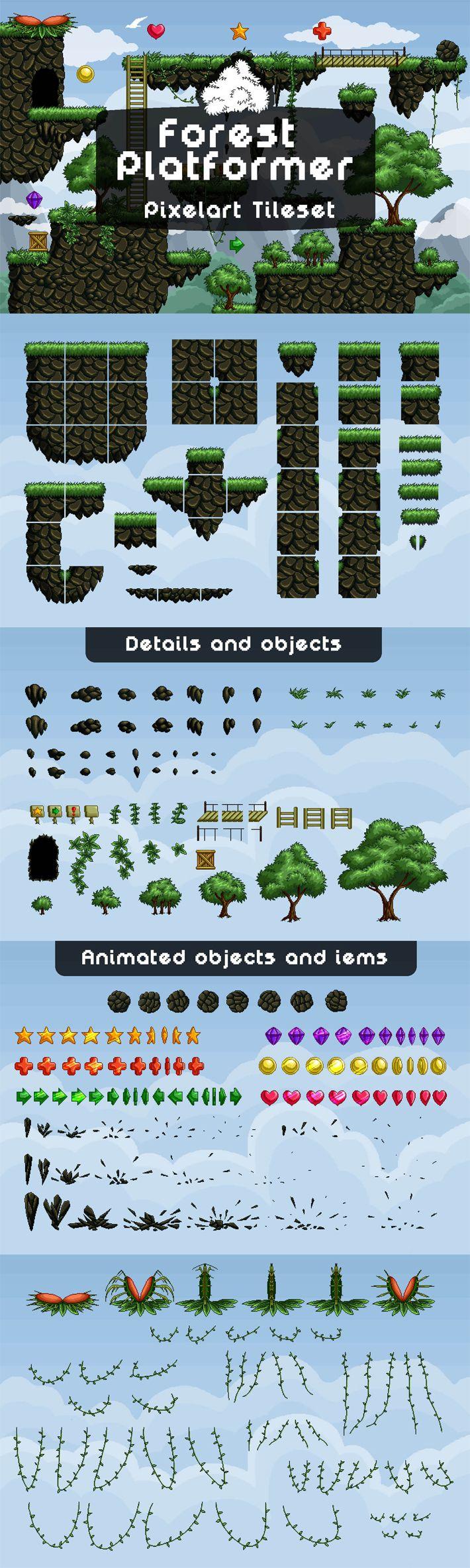 Forest Platformer Tileset Pixel Art – Pixel Art Game Assets