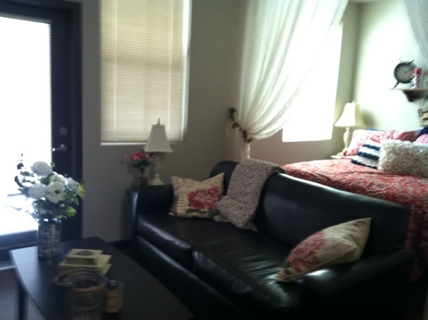 My daughter 39 s studio apartment that we have been for Studio apartment decorating ideas on a budget