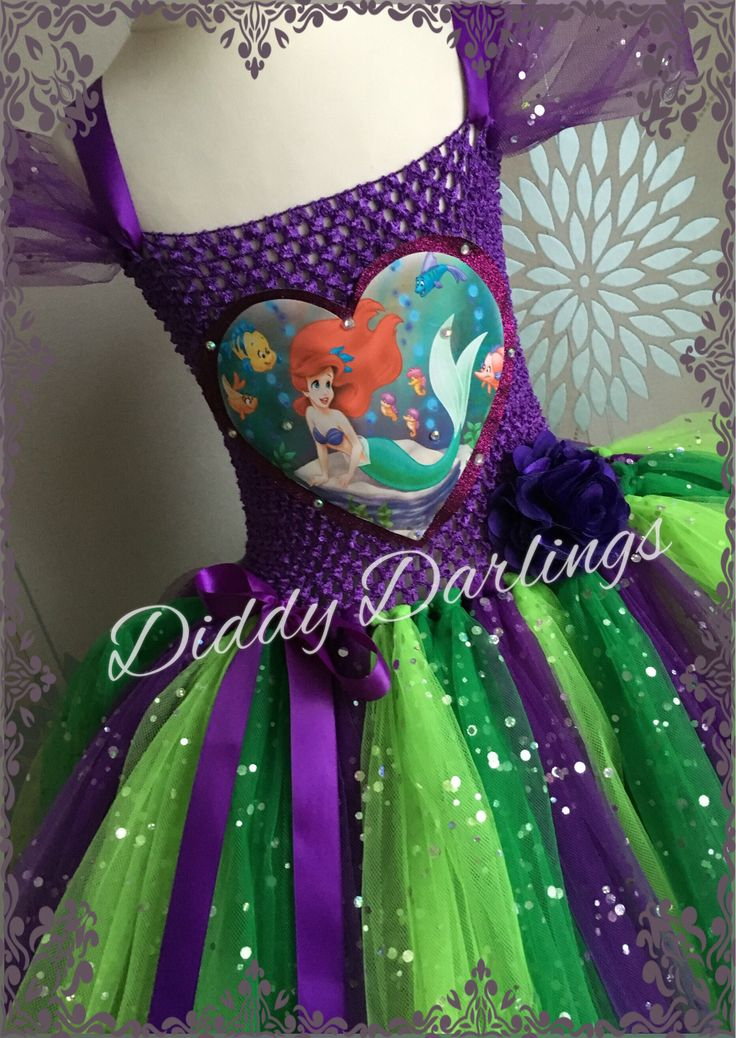 Ariel Tutu Dress. Little Mermaid Tutu Dress. Beautiful & lovingly handmade.  All characters and colours available Price varies on size, starting from £25.  Please message us for more info.  Find us on Facebook www.facebook.com/DiddyDarlings1 or our website www.diddydarlings.co.uk