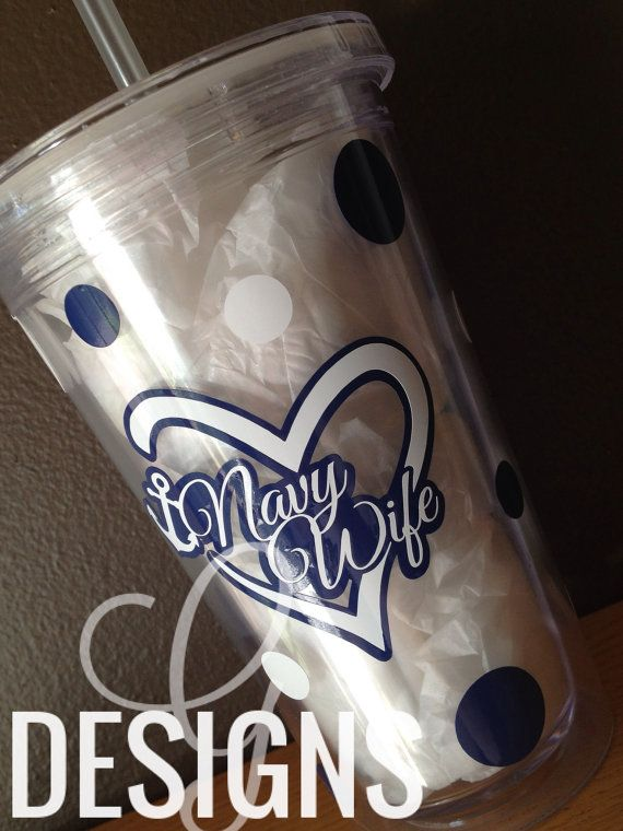 Navy Mom/Girlfriend/Sister/Fiance Polka Dot Water Tumbler by gdesigns7 on Etsy
