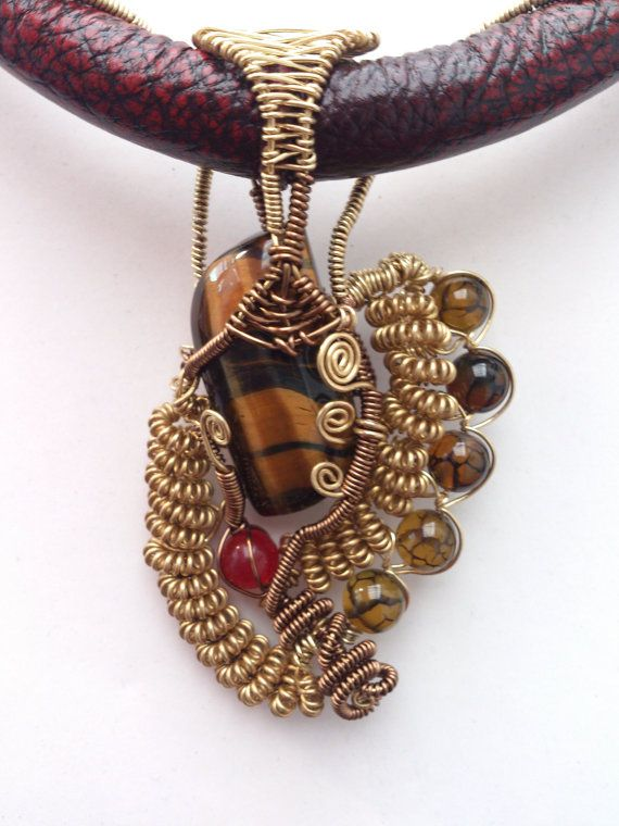 Natural Agate Jade & Dragon Vein Agate Wire Weave by Solace Designs, £120.00