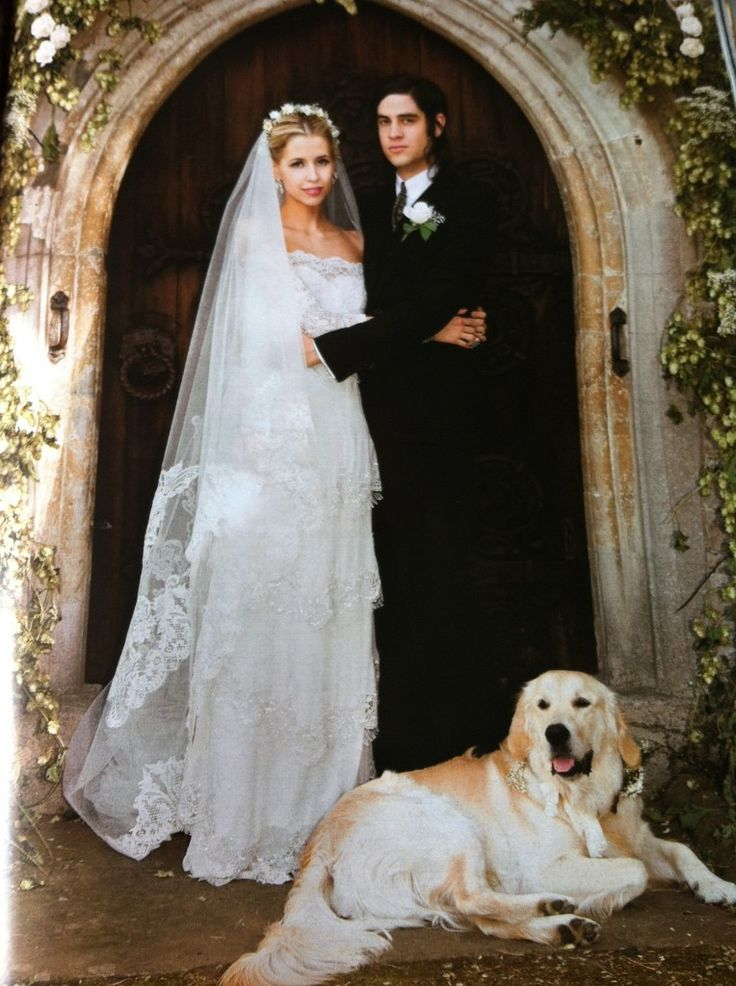 "A beautiful portrait of Peaches Geldof, Tom and Parper, their Golden Retriever, who was the ring bearer, at the front door of the Geldof family home, Davington Priory. At the wedding rehearsal, the groom's father drily observed that Parper ""was the only one that did exactly what he was told""."
