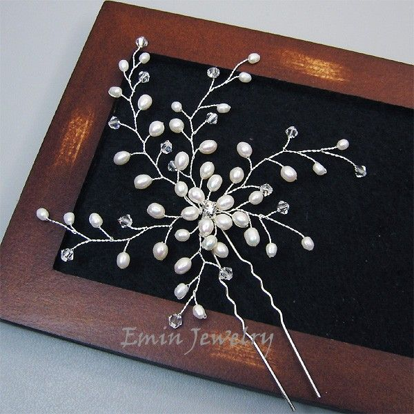 Large Bridal Hair Pin, Bridal Wedding Hair Accessories, White Pearl Bridal Hair Jewelry Pieces, Bride Bridesmaid Wedding Jewelry, Fascinator. $45.00, via Etsy.
