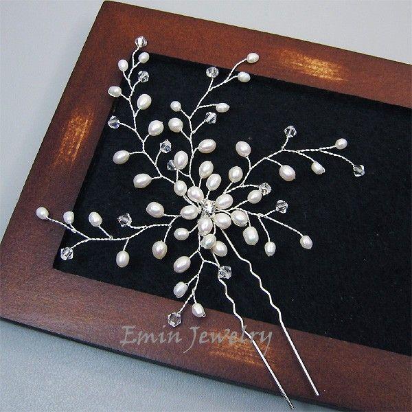 Large Bridal Hair Pin, Bridal Wedding Hair Accessories, White Pearl Bridal Hair Jewelry Pieces, Bride Bridesmaid Wedding Jewelry, Fascinator. $45.00, via Etsy.
