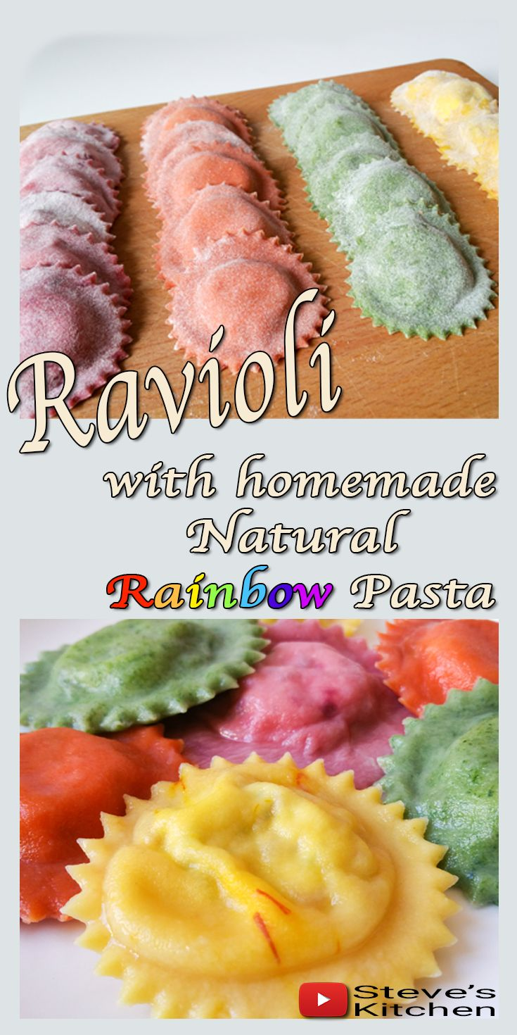 Rainbow Ravioli made with Natural Colours.. I have made rainbow pasta before on my channel using Food Colour Gels and many subscribers requested that I make the Pasta with Natural Food Colours. I promised I would once I got to Italy…….  Full Video Recipe on my Channel here: https://youtu.be/G5u5Ok_93jU