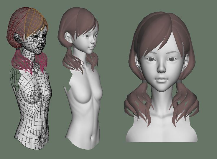 Childlike female torso and head. More references and models at…