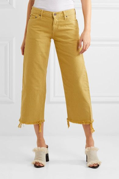 Simon Miller - Salado Cropped Frayed Low-rise Wide-leg Jeans - Saffron - 24