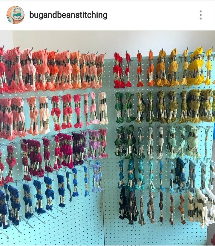 Amazon pegboard use as embroidery floss storage!