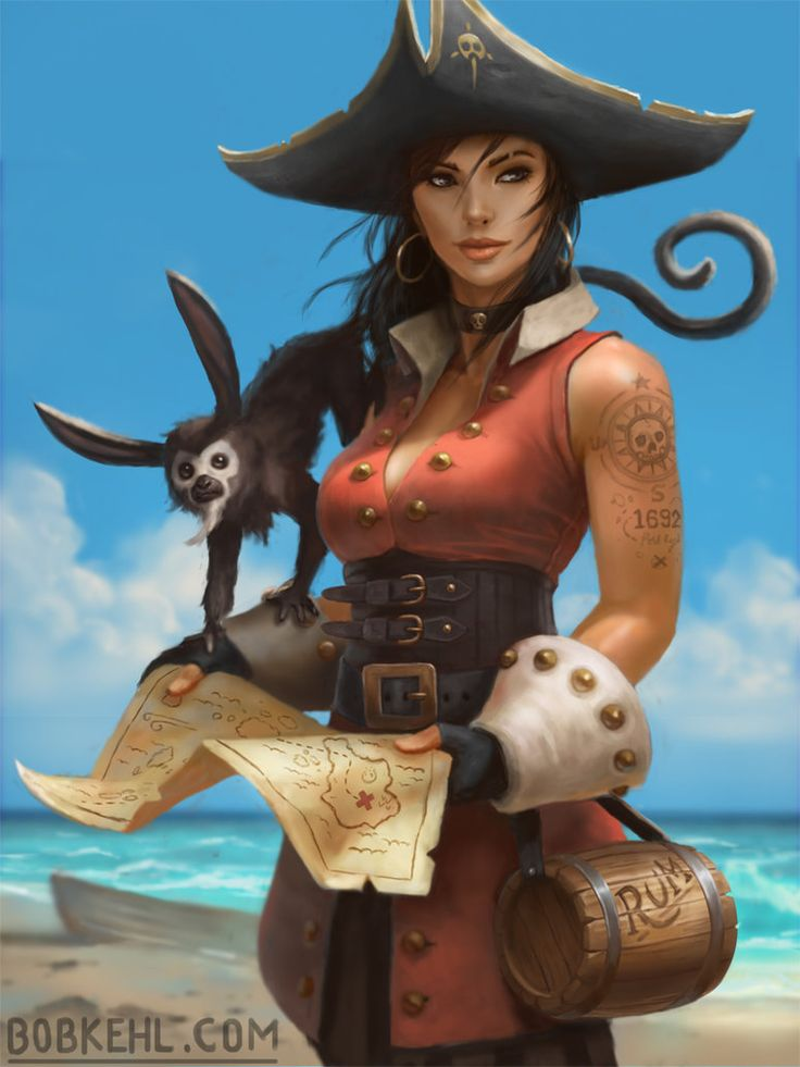 f Rogue Thief Pirate w Treasure Map jug of Rum coastal desert island jungle 774 × 1032 px