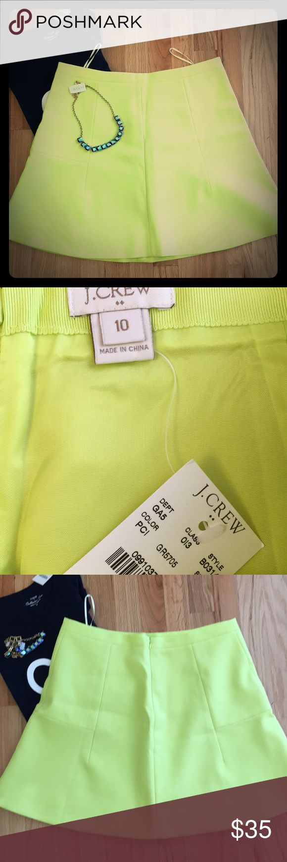 NWT J.Crew Neon Yellow Skirt. Sz 10. NWT J.Crew Neon Yellow Skirt (color is muted in the pictures, but skirt is a true neon yellow.) Sz 10. J. Crew Skirts Circle & Skater