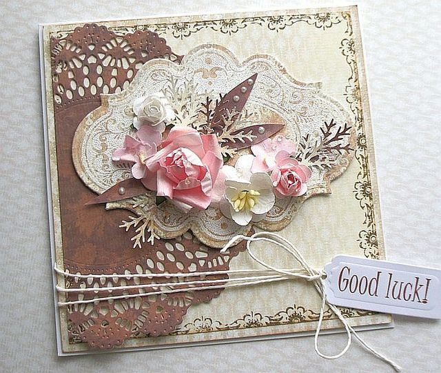 Pretty handmade card. Love that brown doily.