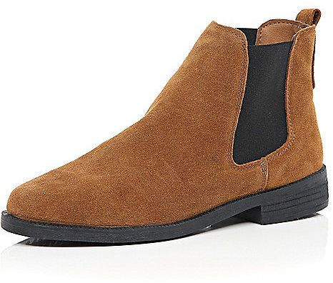 $80, River Island Tan Brown Suede Chelsea Boots. Sold by River Island. Click for more info: https://lookastic.com/women/shop_items/356107/redirect