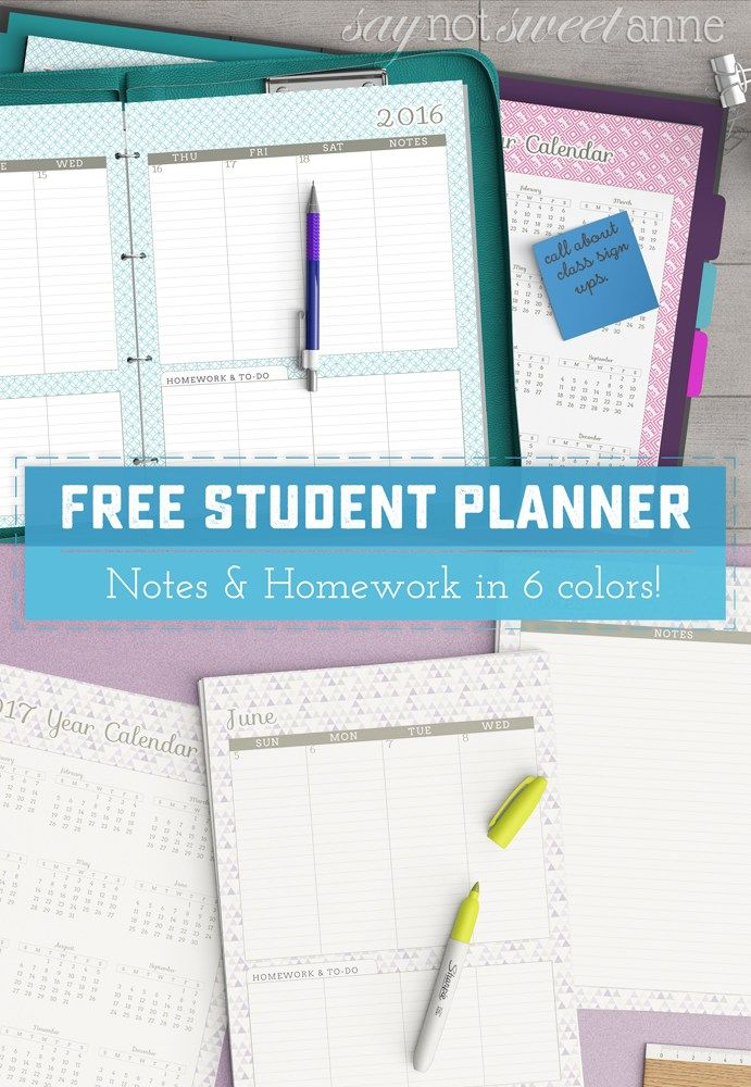 FREE June '16 - June '17 Free Printable Student Planner - Perfect for back to school, getting organized, graduation gifts and more. There's space to track homework, class schedule add ons, and even a teacher's version with lesson planning. | saynotsweetanne.com