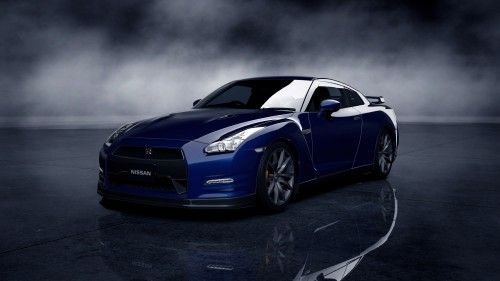 images of Blue Nissan GTR in High Resolution