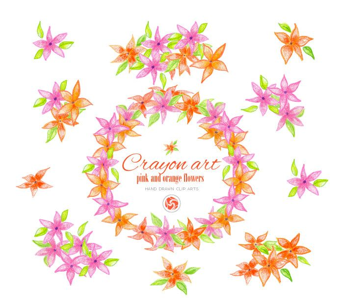 HAND DRAWN  FLOWERS, instant download flowers, crayon clipart, floral decoration, bouquet, wedding floral clipart, little flowers by ankugraphics on Etsy