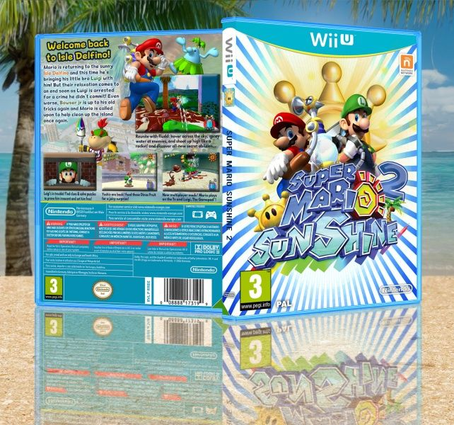 Super Mario Sunshine 2 Wii U box art cover by TransgenderViking >> font for the spine needs changing and those blue & white stripes are a little off-putting. otherwise, not bad