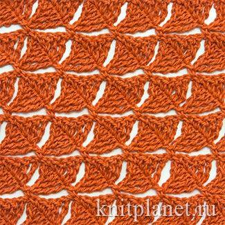 Ажурный узор крючком № 6. Ажурный узор связан крючком в необычной технике. Рекомендуется для вязания шарфов, шалей, палантинов.