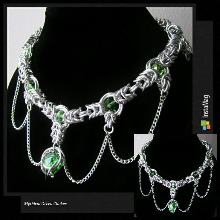 Mythical Green Choker | Handmade wire chainmaille jewelry by Êlenath Mir