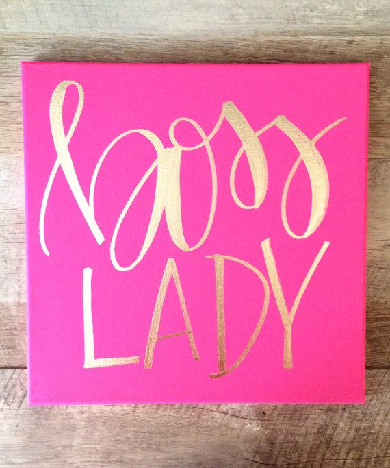 boss lady hot pink and gold canvas home decor office decor wall art home decor boss lady print boss lady sign office signs art force office decoration