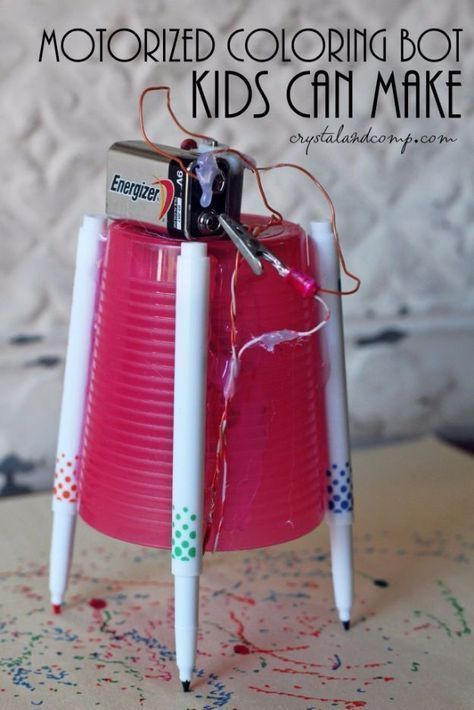 DIY Stem and Science Ideas for Kids and Teens - Motorized Coloring Machine - Fun and Easy Do It Yourself Projects and Crafts Using Math, Electronics, Engineering Concepts and Basic Building Skills - Creatve and Cool Project Tutorials For Kids To Make At Home This Summer - Boys, Girls and Teenagers Have Fun Making Room Decor, Experiments and Playtime STEM Fun http://diyjoy.com/diy-stem-science-projects https://www.djpeter.co.za #craftsforteenstomakeboys