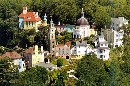Italian Style village of Portmeirion which was the dream and creation of Sir Clough Williams Ellis.  The village lies on the edge if the Dwyryd Estuary and Cardigan Bay and was the setting for the old TV series The Prisoner.