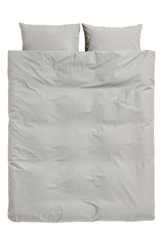Patterned Duvet Cover Set Gray White Patterned Home All H M Us Duvet Cover Pattern Duvet Cover Sets Duvet Covers