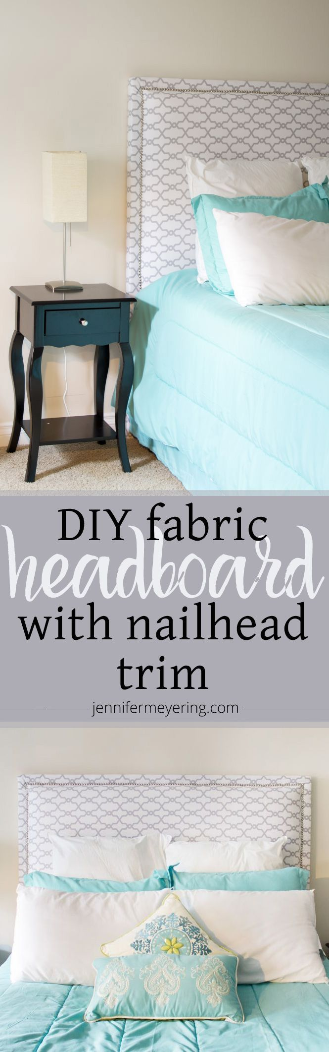 Fabric Headboard with Nailhead Trim -- JenniferMeyering.com
