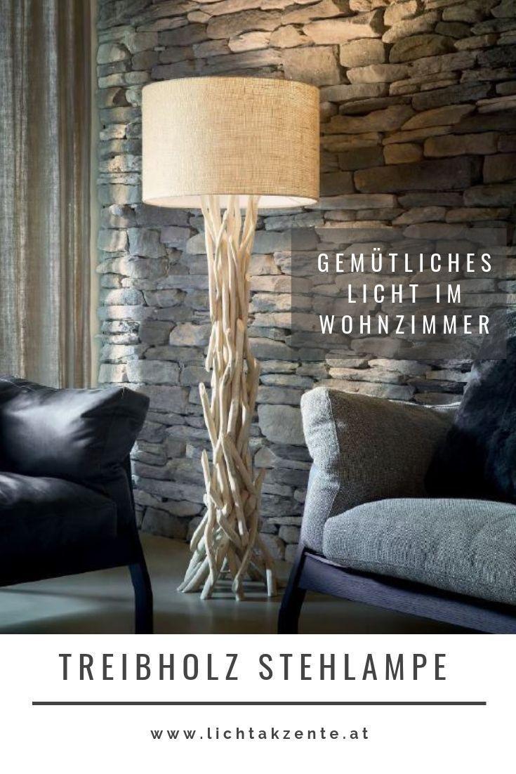 Wohnzimmer Stehlampe aus Treibholz  Stehlampe holz, Stehlampen