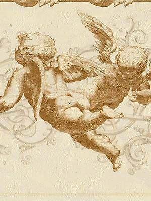 Baby Cherub Angels Soft Gold Wallpaper Border 432