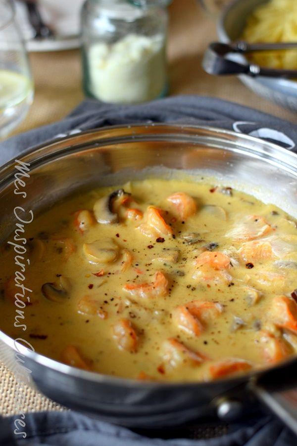 Sauce aux crevettes crémeuse, parmesan et champignons | Le Blog cuisine de Samar