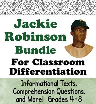 This resource includes two biographical units about Jackie Robinson. The two may be seen individually by clicking on the following links:Jackie Robinson His Life and Times (Grades 4-6)Introducing Jackie Robinson(Grades 6-8)The information about Jackie Robinson is essentially the same in both resources but the texts are written at different reading levels and the accompanying activities are different for each one.