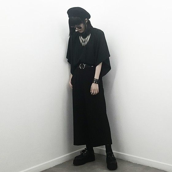Get this look: http://lb.nu/look/8664767  More looks by Michelle K: http://lb.nu/michmisfit  Items in this look:  Stradivarius Black Wool Beret, Drape Shirt, Uniqlo Drape Flare Pants, Layered Necklace, Underground Shoes Wulfrun Double Sole Creepers   #edgy #gothic #singapore #dailylook #black #goth #dark #undergroundshoes #creepers