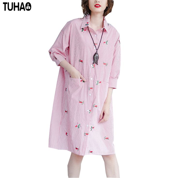large size women's clothing striped embroidered shirts 2017 summer dresses casual robe pink t shirt dress XF14 #Affiliate