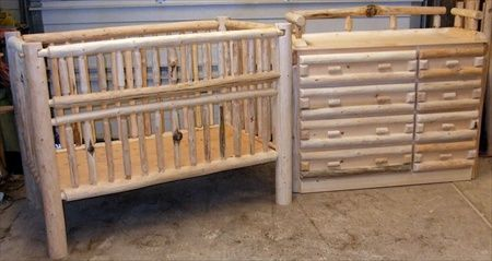 Convertible Log Crib and Changing Table Set