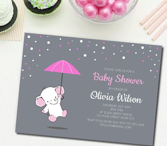 Blue elephant Baby Shower InvitationBalloon by TheCutePaperStudio Baby Shower Invitations For Girls