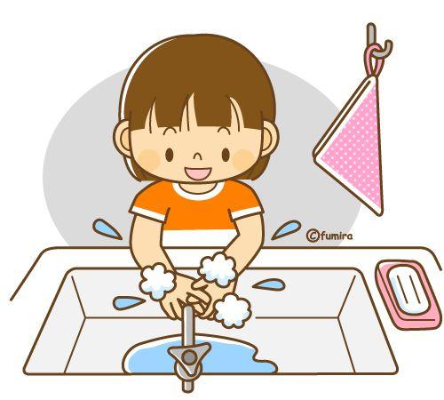 石けんで手を洗う女の子のイラスト(ソフト)