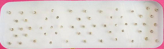 58 Silver Stones Gold Base 1 mm 2mm 3mm Bindis Indian