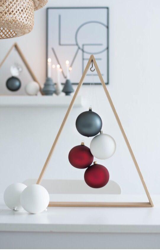 Un triangle en balsa sur lequel vous accrochez des boules de Noël avec un fil invisible.    source    source  Une variante, l'arbre de Noël flottant :              source pinterest