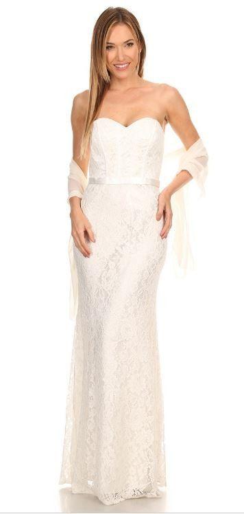 Eva Kind Of Love White Lace Strapless Maxi Dress