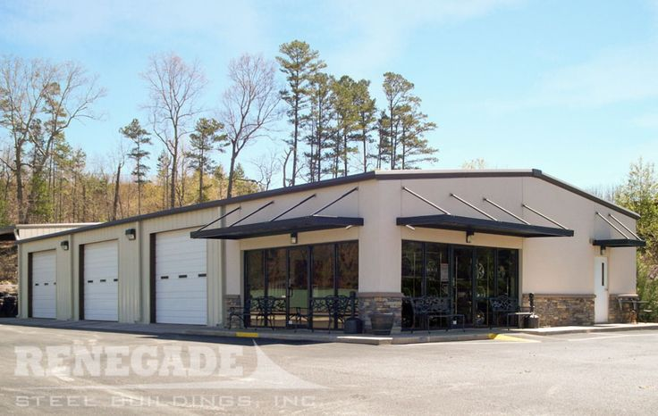 Renegade steel building with stucco and stone on front - Commercial steel exterior doors with glass ...