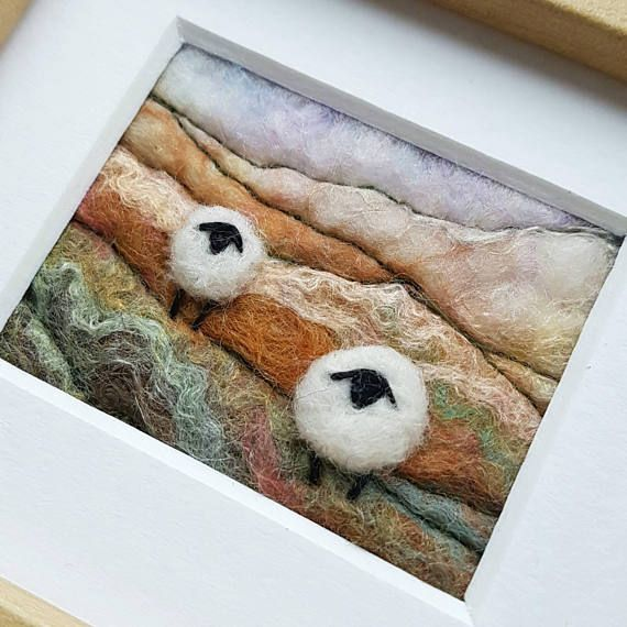 Felted wool art by Tilly Tea Dance https://www.etsy.com/uk/listing/514871414/sheep-on-a-rolling-hillside-miniature